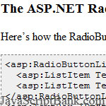 Adding Javascript OnClick Events to ASP.NET RadioButtonList Controls