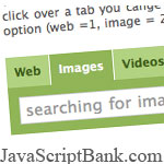 Tabbed search bar using CSS and JavaScript