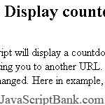 Display countdown timer before redirecting