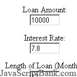 Calculating loan repayment rate © JavaScriptBank.com