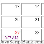 Calender script that shows date and time of today