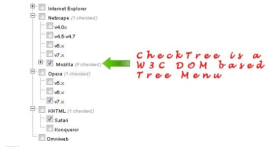 CheckTree W3C DOM based Tree Menu